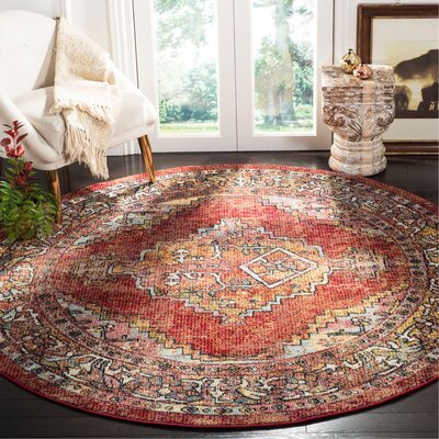 Mcintosh Red Area Rug� Rug Size: Round 7
