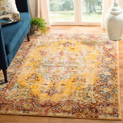 Mcintosh Boho Yellow Area Rug� Rug Size: Rectangle 9 x 12