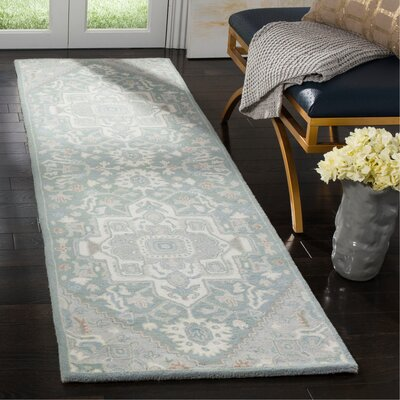 Moss Hand Tufted Wool Gray Oriental Area Rug Rug Size: Runner 23 x 8