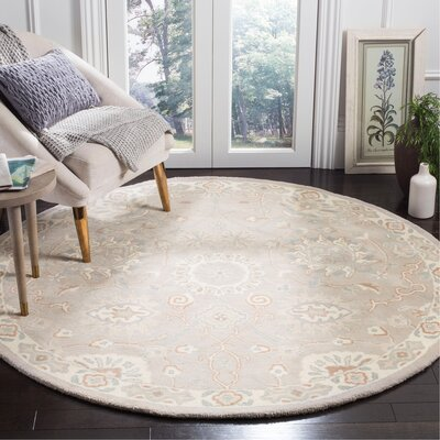 Moss Hand Tufted Wool Gray Area Rug Rug Size: Round�6