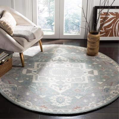 Moss Hand Tufted Wool Gray Oriental Area Rug Rug Size: Round�6