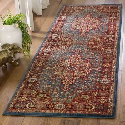 Murphy Red/Blue Oriental Area Rug Rug Size: Runner 26 x 8