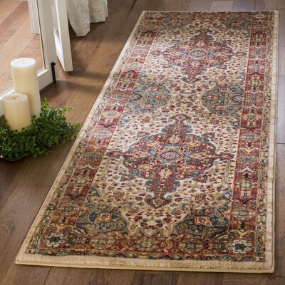 Murphy Traditional Ivory/Blue Area Rug Rug Size: Runner 26 x 8