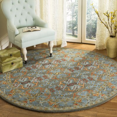 Moss Hand Tufted Wool Green Area Rug Rug Size: Round�6