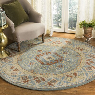 Moss Hand Tufted Wool Blue Area Rug Rug Size: Round�6
