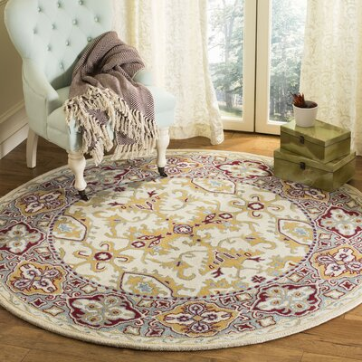 Moss Hand Tufted Wool Ivory Area Rug Rug Size: Round�6