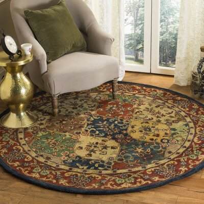 Moss Hand Tufted Wool Red/Yellow Area Rug Rug Size: Round�6