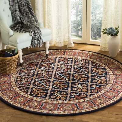 Moss Traditional Hand Tufted Wool Brown Area Rug Rug Size: Round�6