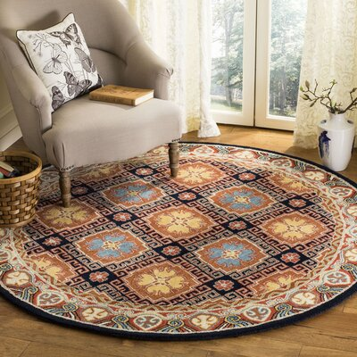Moss Hand Tufted Wool Brown Area Rug Rug Size: Round�6