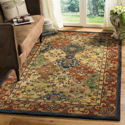 Moss Hand Tufted Wool Red/Yellow Area Rug Rug Size: Rectangle 4 x 6