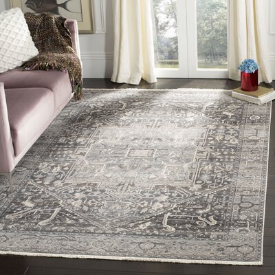 Mullens Persian Gray/Charcoal Area Rug Rug Size: Rectangle 6 x 9