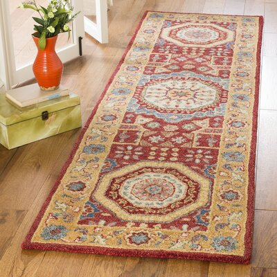 Murray Hand Tufted Wool Red Area Rug Rug Size: Runner 23 x 8