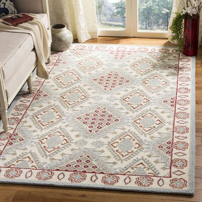 Ebling Hand Tufted Wool Ivory/Red Area Rug Rug Size: Rectangle 5 x 8