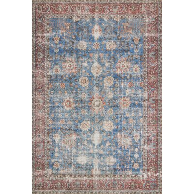 Adele Blue/Brick Area Rug� Rug Size: Rectangle 23 x 39