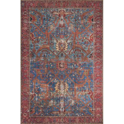 Raul Blue/Red Area Rug� Rug Size: Rectangle 76 x 96