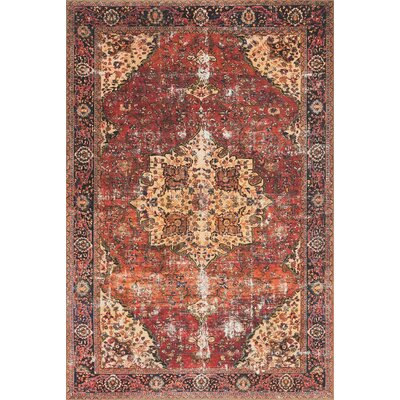 Raul Red/Navy Area Rug� Rug Size: Rectangle 76 x 96