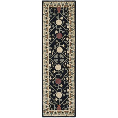 Moss Hand Tufted Wool Navy Area Rug Rug Size: Runner 23 x 8