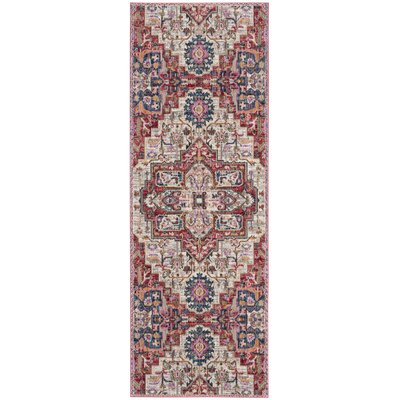 Marable Cream/Red Area Rug Rug Size: Runner 3 x 8