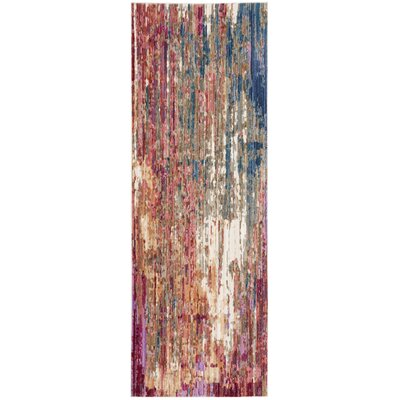 Marable Red/Blue Area Rug Rug Size: Runner 3 x 8