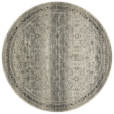 Diez Gray/Charcoal Area Rug Rug Size: Round 7