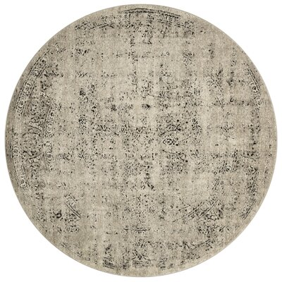 Diez Stone/Charcoal Area Rug Rug Size: Round 77