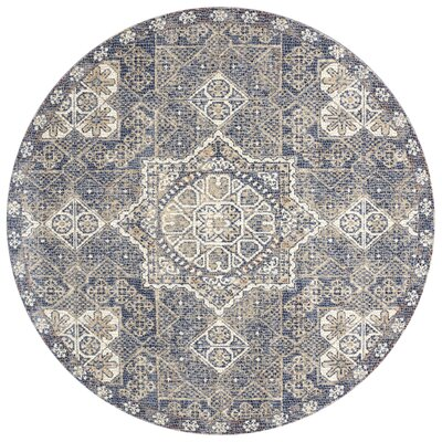 Dietrick Hand-Hooked Blue Area Rug Rug Size: Round 710