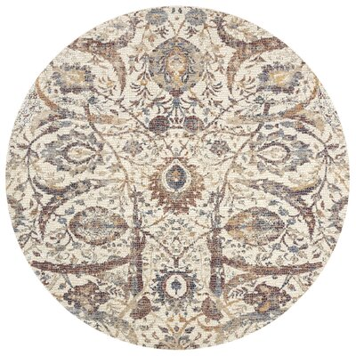 Dietrick Hand-Hooked Ivory Area Rug Rug Size: Round 710