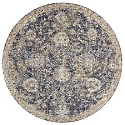 Dietrick Hand-Hooked Blue/Beige Area Rug Rug Size: Round 710
