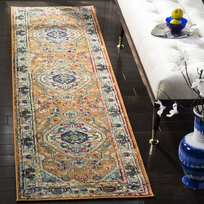 Mcintosh Orange/Blue Area Rug� Rug Size: Runner 23 x 8
