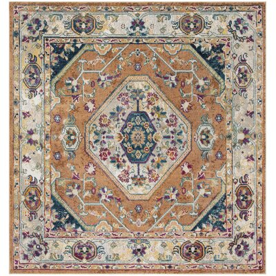 Mcintosh Orange/Blue Area Rug� Rug Size: Square 7