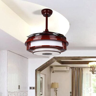 42.5 Mccullough Quaint Rosewood 4 Blade LED Ceiling Fan with Remote