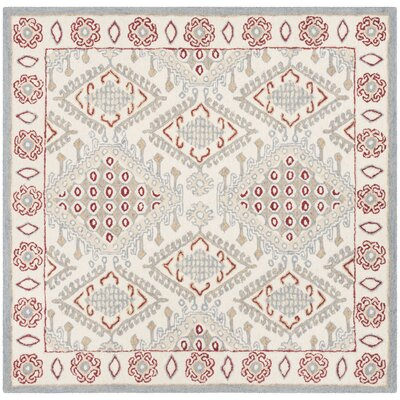 Ebling Hand Tufted Wool Ivory/Red Area Rug Rug Size: Square 5
