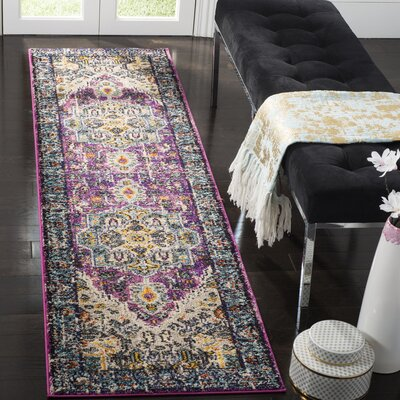Hackmore Violet/Light Blue Area Rug Rug Size: Runner 22 x 12