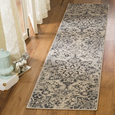Manton Gray/Ivory Area Rug Rug Size: Runner 2 x 8