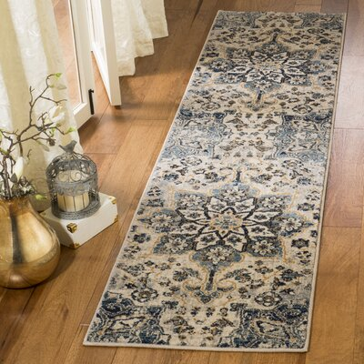 Manton Navy/Ivory Area Rug Rug Size: Runner 2 x 8