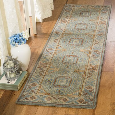 Moss Hand Tufted Wool Blue Area Rug Rug Size: Runner 23 x 8