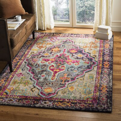 Halton Gray/Fuchsia Area Rug Rug Size: Rectangle 4 x 57
