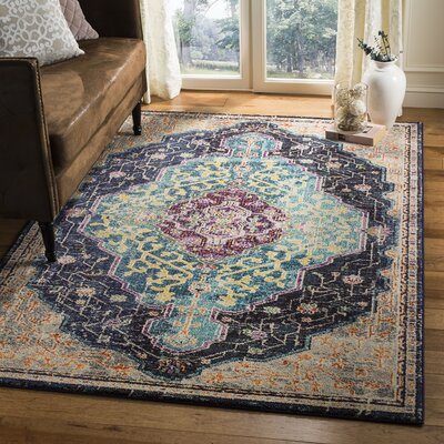 Hammondale Black/Blue Area Rug Rug Size: Rectangle 51 x 77