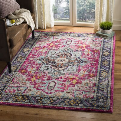 Hadaway Fuchsia/Gray Area Rug Rug Size: Rectangle 8 x 10