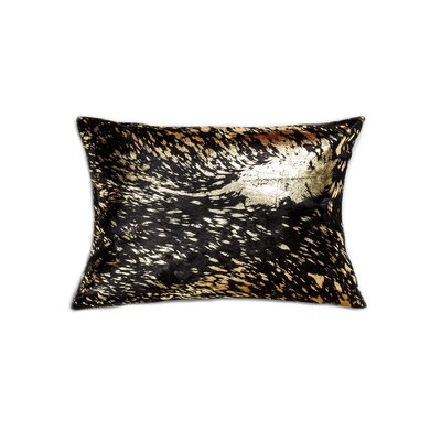 Graham Leather Lumbar Pillow Color: Black/Gold