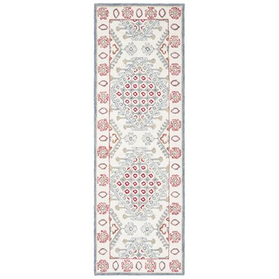 Ebling Hand Tufted Wool Ivory/Red Area Rug Rug Size: Runner 23 x 7
