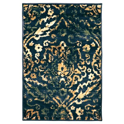 Goshen Navy Blue/Beige Area Rug Rug Size: Rectangle 2 x 3