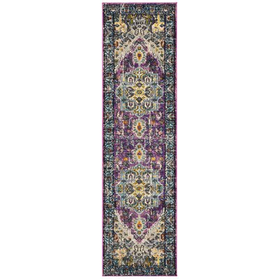 Hackmore Violet/Light Blue Area Rug Rug Size: Runner 22 x 8