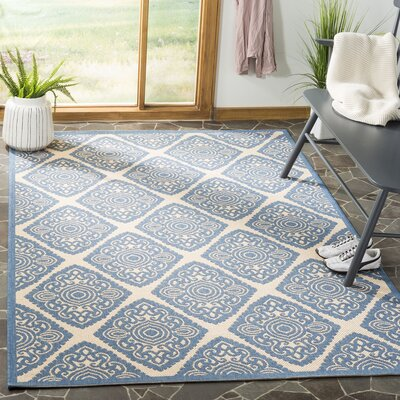 Mullenix Cream/Blue Area Rug Rug Size: Rectangle 51 x 76