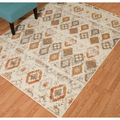 Randolph Beige/Orange Area Rug Rug Size: 110 x 3