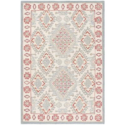 Ebling Hand Tufted Wool Ivory/Red Area Rug Rug Size: Rectangle 4 x 6