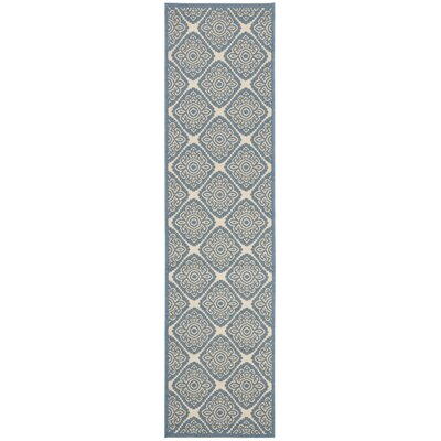 Mullenix Cream/Blue Area Rug Rug Size: Runner 2 x 8