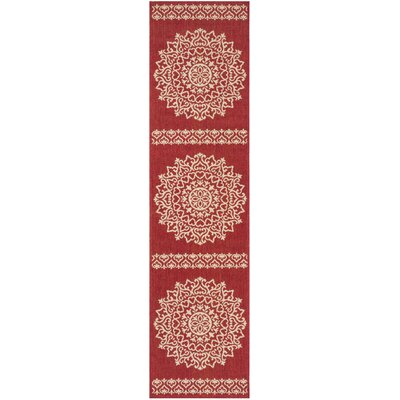 Gipson Red/Cream Area Rug Rug Size: Runner 2 x 8