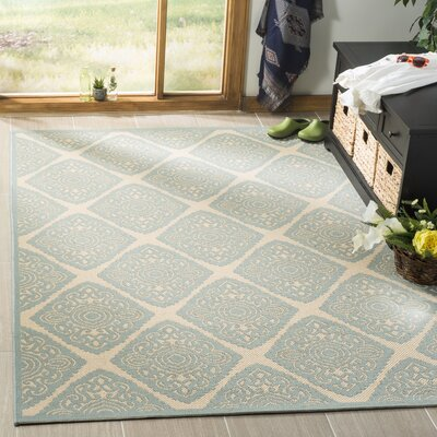 Mckinley Cream/Aqua Area Rug Rug Size: Rectangle 8 x 10