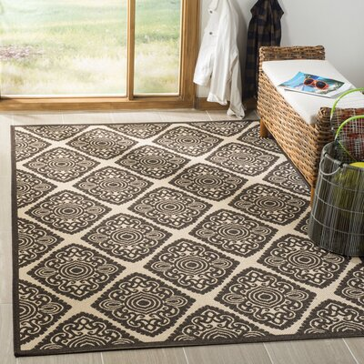 Mullenix Cream/Brown Area Rug Rug Size: Rectangle 51 x 76